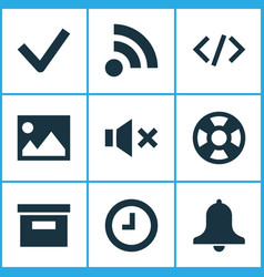 interface icons set with alarm wait checkmark vector image