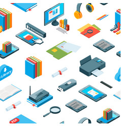 isometric online education icons pattern vector image