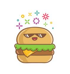 Kawaii hamburger sandwich icon cartoon vector