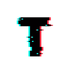 Logo letter t glitch distortion vector