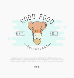 logo with bearded chef in hat for restaurant vector image