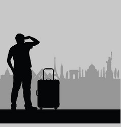 Man with travel bag watching famous buildings vector