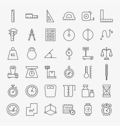 Measure line icons set vector