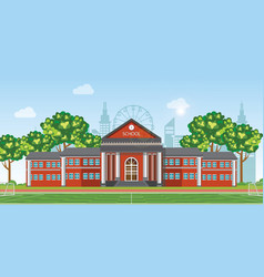 modern school with football field in front the vector image