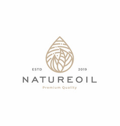 nature oil droplet tropical leaves logo template vector image