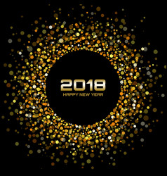 New year 2018 card gold circle confetti frame vector