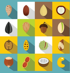 Nuts icons set flat style vector