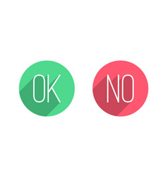 Ok and no flat buttons vector