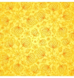 Orange doodle flowers seamless pattern vector image