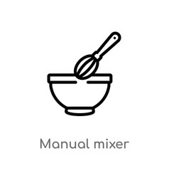 Outline manual mixer icon isolated black simple vector