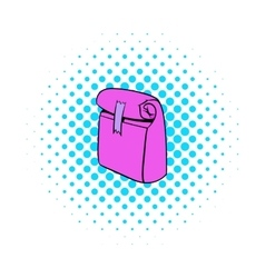 Paper pink lunch bag icon comics style vector