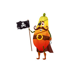 Pawpaw papaya isolated pirate emoticon character vector