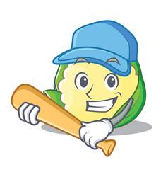 Playing baseball cauliflower character cartoon vector