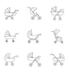 pram icon set outline style vector image