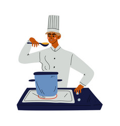 Professional chef cooking soup kitchener vector
