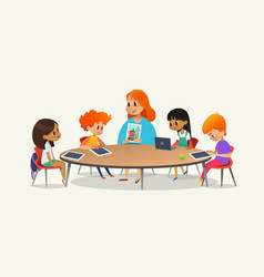 Redhead female teacher showing picture to children vector