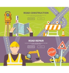 Road Worker Banner vector image