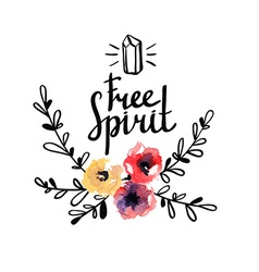 rustic logo template with watercolor flowers vector image