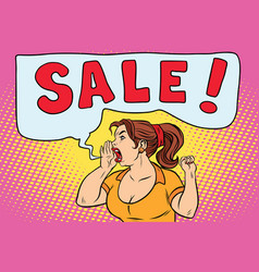 sale pop art woman screaming vector image