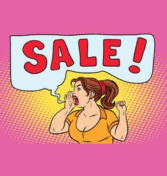 sale pop art woman screaming vector image