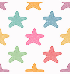 sea stars seamless pattern colorful starfish vector image