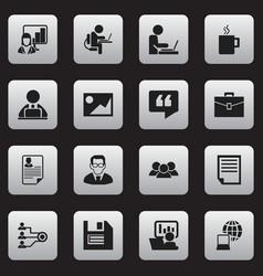 Set of 16 editable company icons includes symbols vector