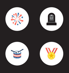 set of history icons flat style symbols with medal vector image