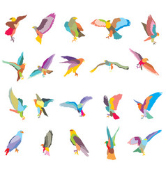 Set of mosaic eagle silhouettes-2 vector