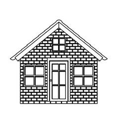 silhouette facade brick wall small village vector image