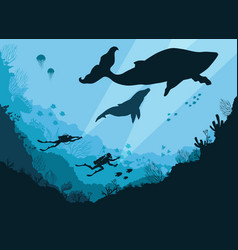 silhouettes of divers underwater vector image