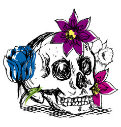 Skull with flowers drawing vector