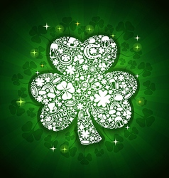 St patricks days card white objects on shine vector