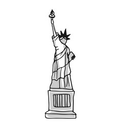 Statue liberty hand drawn icon vector