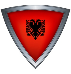 steel shield with flag albania vector image vector image