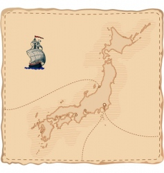 stylised old japan map vector image vector image