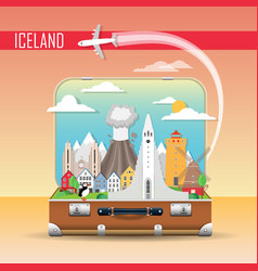 suitcase with landmarks iceland vector image