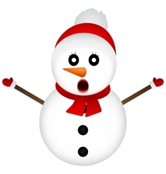 Surprised Snowman on a white background standing vector