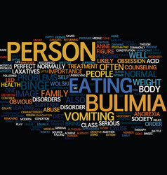 The battle of bulimia text background word cloud vector