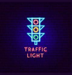 Traffic light neon label vector