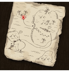 treasure map on wooden background vector image