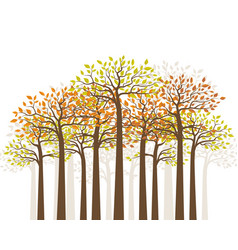Trees with colored leaves natural background vector