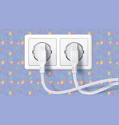 two white plug inserted in a wall socket on vector image