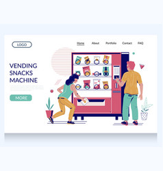 Vending snacks machine website landing page vector