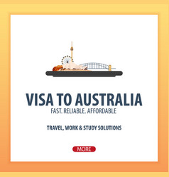 Visa to australia travel to australia document vector