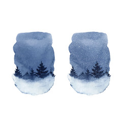 watercolor winter night landscape with vector image