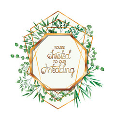 Wedding invitation with golden frame vector