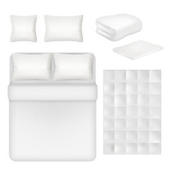 White blank bedding realistic template set vector