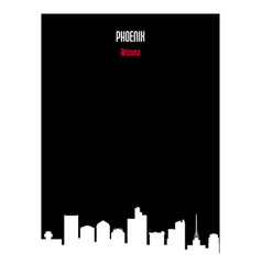 white silhouette phoenix arizona urban skyline on vector image