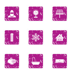 Winter forester icons set grunge style vector
