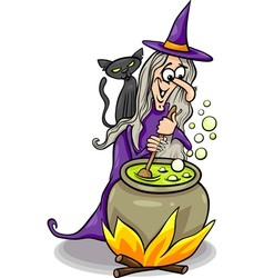 Witch casting a spell cartoon vector